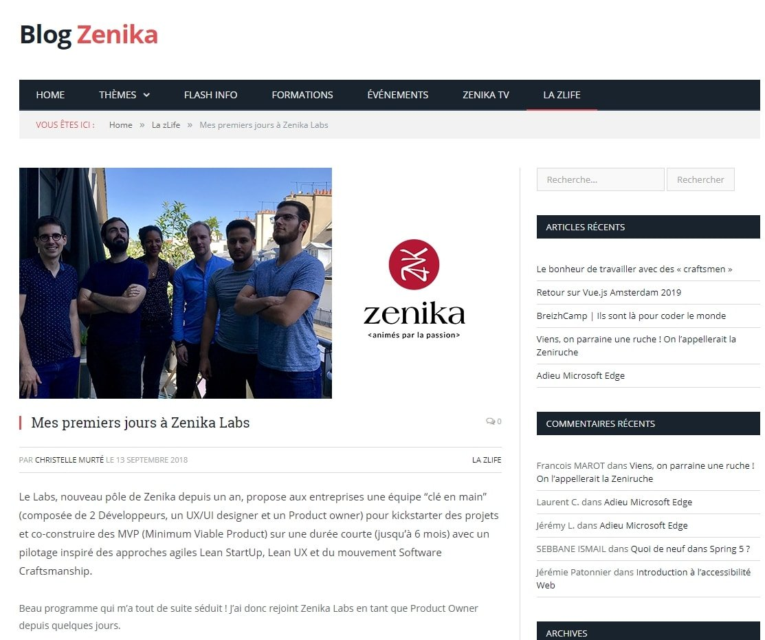 Article de Zenika