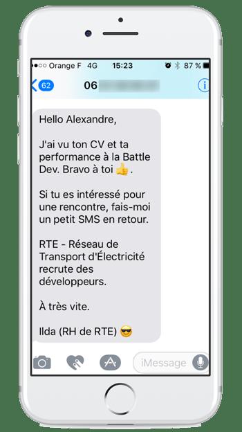 SMS pour recruter un développeur