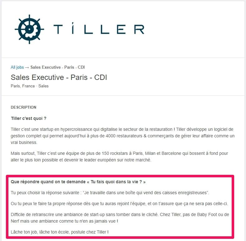 Annonce d'emploi de Tiller